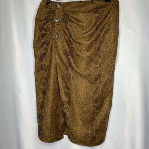 Zara Basic Faux Suede Snakeskin Print Skirt size M